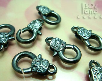 Clearance -40% / B123BK / 12Pc / 23mm x 13 mm - Gunmetal Textured Chunky Lobster Clasp / Key Chain Findings