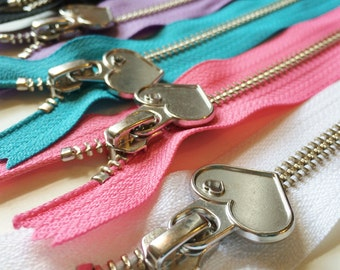 Metal Teeth 7 Inch Zippers with Special Heart Pull - YKK- 5 Pieces-  5 color sampler pack- black, white, pink, lavender, and blue