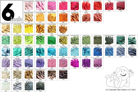 6 Inch Zippers (50) Pieces Mix and Match - Your Choice of Colors- 65 bright, light, dark and neutral colors to choose from