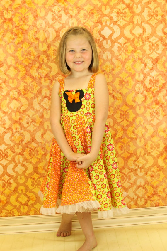 custom boutique twirl dress made with mouse patch size 2-6