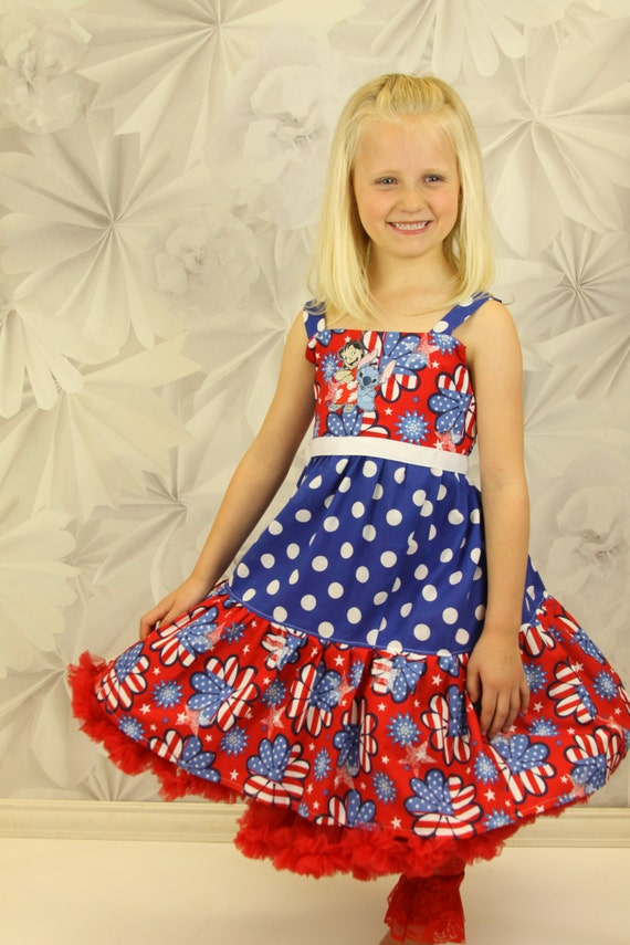 custom boutique fourth of july sundress made with lilo and stitch patch 2-6
