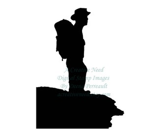 Instant DOWNLOAD Digital Stamp Image HIKING MAN Silhouette, Illustration, silhouette, for cards, scrapbooks, art journaling