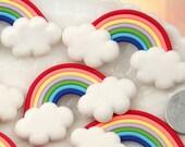Rainbow Cabochon - 30mm Fimo Rainbow Clouds Polymer Clay Flatback Cabochons - 4 pc set