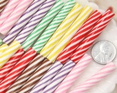 Fake Candy - 50mm Colorful Candy Cane Fimo Stick Clay Faux Candy Cabochons - For Fake Food Crafts - 6 pc set