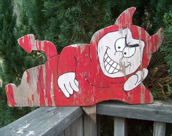 Vintage Little Red Devil Sign...Wooden Sign...Advertising...Shabby...Chippy...Mid Century...Wall Art...El Diablo...Halloween...Unusual Decor