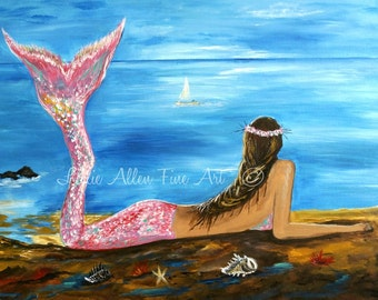 "Mermaid Art Print Little Mermaid Mermaids Fantasy Magical Seascape ""Beauty Of A Mermaid""  Wall Art Mermaid Painting Seascape Ocean"