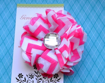 Chevron Chiffon Flower Hairclip in Hot Pink and White