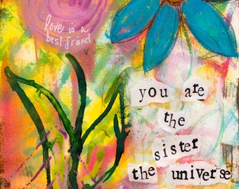 "Universe Sister 5""x7"" Blank Greeting Card with Envelope, Sister Art, Chosen Sister Art, Blank Cards, Wholesale Greeting Cards"