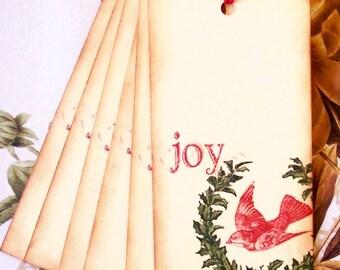 Christmas Gift Tags Joy Vintage Style Party Favor House Warming Treat Bag Tag Handmade TC026