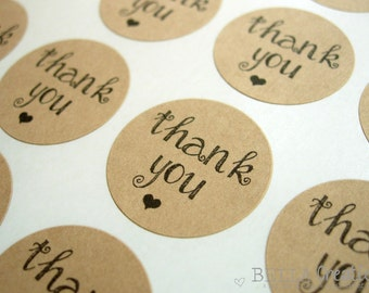 "Modern Girlie Thank You Stickers - 1"" or 2"" Kraft Stickers"