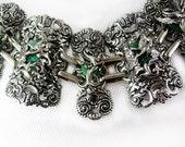 Reserved for Angel FABULOUS Dragon Pegasus Huge Bracelet faux Jade stones Mythology