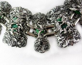 FABULOUS Dragon Pegasus Huge Bracelet faux Jade stones Mythology