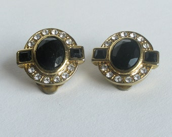 Oval Black Crystal and Rhinestone Gold Earrings