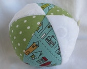 Cloth Jingle Ball Baby Toy with Road 15 house fabric and Minky
