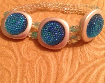 Aqua Blue and Silver Bracelet