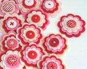 STRAWBERRY MILKSHAKE Felt Flower Embellishments, Set of 3 Handmade Pink, Red and Cream Felt Layered Flowers / Felt Applique