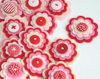 STRAWBERRY MILKSHAKE x 3 Felt Flower Embellishments, Handmade Layered Felt Flowers,  Hair Clip Felt Appliques, Kids Crafts, Sewing Applique