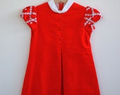 RESERVED... Vintage 1960's Sak's Fifth Avenue Dress - Red Velveteen Lace Flowers (4T)