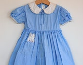 Vintage 1950's Toddler Girl Dress - BUNNY Pocket (2T)
