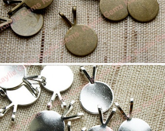 Round Disc 10mm Bail Settings for Glue On Pendant Silver / Antique Brass Plated over Brass  8pcs