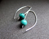 small turquoise earrings. modern turquoise jewelry.