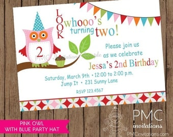 Cute Owl themed birthday party invitation- 1.00 each with envelope