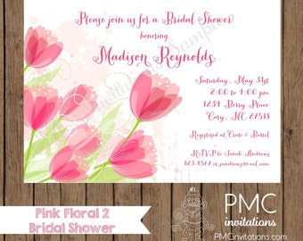 Custom Printed Pink Floral Bridal Shower Invitation - 1.00 each with envelope