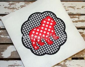 Machine Embroidery Design Applique Bulldog 2 Scallop  INSTANT DOWNLOAD