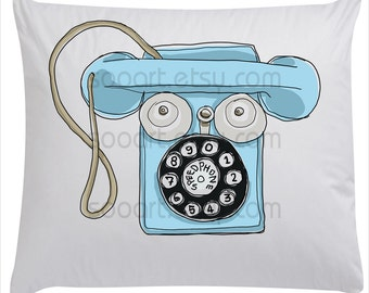 Blue Metal Phone Speedphone  Tin Toy-Drawing  A4 Print transfer on Pillows, t-shirts, scrapbook, lampshades  ETC.v