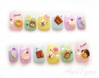 Fairy kei, donut nail art, kawaii nail, nail decal, sweet lolita, lolita nails, 3D nails, party nail art, Japanese 3D nails, short nails