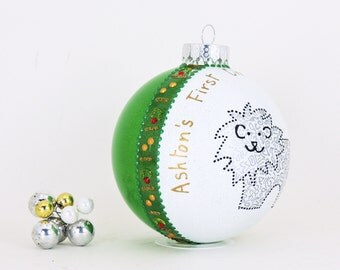 Baby's First Christmas ornament - Hand painted personalized glass ball - Adorable lion