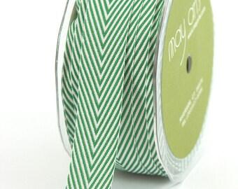 Hunter Green Chevron Twill Ribbon . 5 yards (15 feet) . 3/4 inch