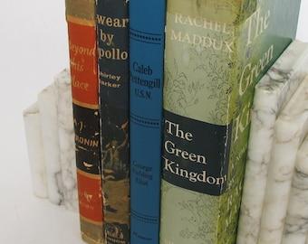 1950s Fiction Novels Maddux Barker Eliot Cronin Vintage Hardcover Books Set Blue Red Color Signed Autographed Green Kingdom FREE SHIPPING