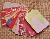 Upcycled Holiday Gift Tags - Holiday Patterns Snowflakes, Holly and Stars