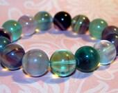 Multi Color Fluorite Stretch Bracelet Boho Jewelry Yoga Bracelet Beaded Bracelet Womens Gift Energy Jewelry