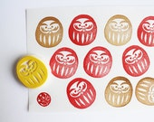 daruma rubber stamp. japanese doll hand carved rubber stamp. make a wish. new year's card making. birthday wedding gift wrapping