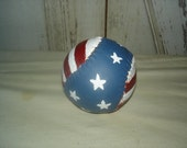 Americana Painted Softball, Primitive, Rustic, Americana, Baseball, Home Decor, Ofg, Faap, Hafair