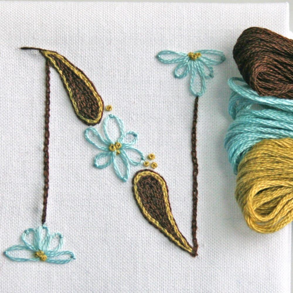 Crewel Embroidery Kit DIY Pattern Pdf Monogram N Instant