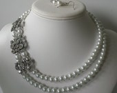 Two Strand Bridal Brooch Statement White Glass Pearl Bead Necklace and Earring Set