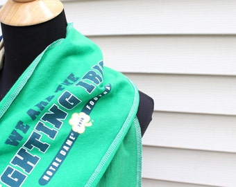 Custom T Shirt Scarf - Team Spirit Scarf - Tailgate Scarf - Upcycled - Green