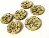 Coconut button 30mm - 6 Green botanical vintage pattern coconut buttons (BC705)