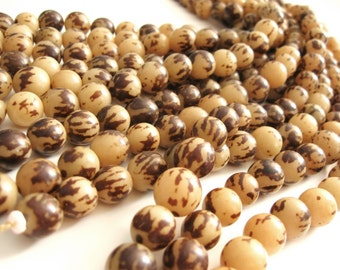 10 Tiger Brown Buri Beads 12mm (PN201)