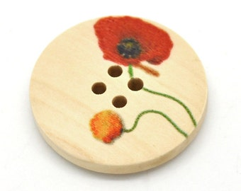 Natural wood button with Flower Poppy Pattern 30mm - set of 5 natural sewing wood button  (BB106B)