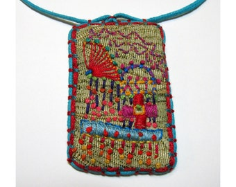 Colorful Fantasy Hand Embroidered Necklace