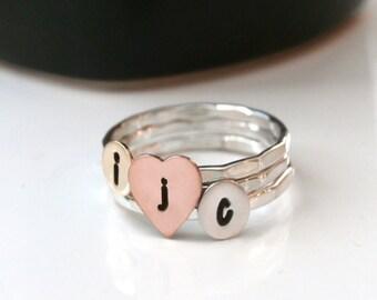 Custom Initial Sweetheart Stack Rings, Sterling Silver Initial And Heart Stack Rings, Personalized Rings, Set Of Three