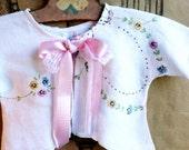 Vintage LINEN baby jacket for Newborns