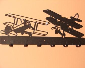 Vintage Airplane COAT RACK Robe Hook Metal Cabin Old Shop Garage Kids Room
