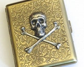 Big Cigarette Case Skull & Crossbones Steampunk Case Vintage Style Metal Case Antiqued Brass Gothic Victorian Case Skull Case Pirate Case
