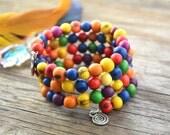 Fruit Salad: Acai Beads Bracelet Colorful Acai Beads Memory Wire Bracelet / Eco friendly Jewelry, Organic Beads, Acai Seeds / Handmade
