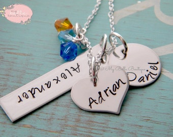 Personalized Hand Stamped Triple Name and Swarovski Birthstone Necklace